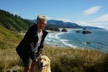 Dana and Sunny overlooking Cannon Beach