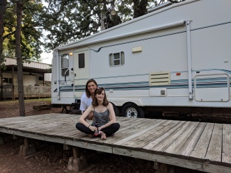 Katie and Julia with Harvey the RV
